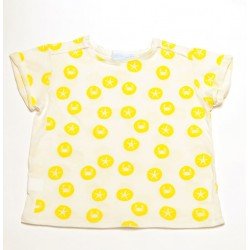 Camiseta manga corta Ballenator - crudo estampado amarillo
