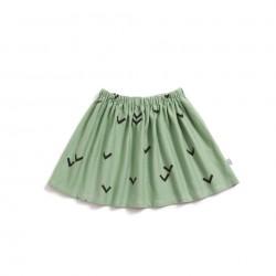 Falda básica verde Pájaros