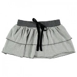Falda mini ni–a volantes - gris y plata